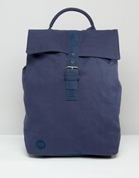 Mi Pac Canvas Fold Top Backpack In Navy Navy