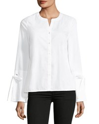 Laundry By Shelli Segal Poplin Button Front Top White