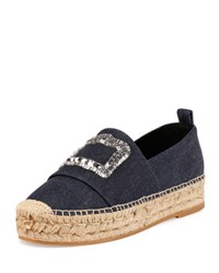 Roger Vivier Denim Crystal Buckle Espadrille Dark Blue