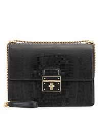 Dolce And Gabbana Rosalia Embossed Leather Shoulder Bag Black