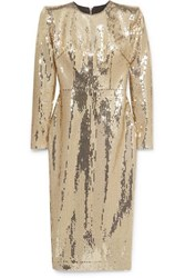 Alex Perry Williams Sequined Crepe Midi Dress Gold