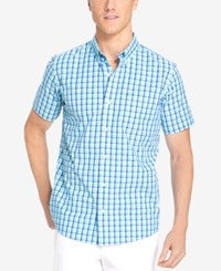 Izod Men's Big And Tall Grid Non Iron Short Sleeve Shirt Blue Radiance