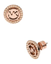 Logo Pave Stud Earrings Rose Golden Michael Kors