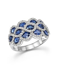 Bloomingdale's Diamond And Sapphire Triple Row Ring In 14K White Gold White Blue