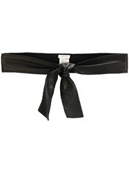 Lamberto Losani Tie Belt Women Lamb Skin Wool One Size Black