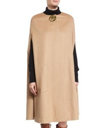 Co Textured Flannel Cape With Lunar Embellishment Camel