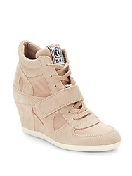Ash Bowie Suede And Canvas Wedge Sneakers Beige