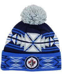 Puma Sports Licensed Division Winnipeg Jets Geotech Pom Knit Hat Navy Lightblue