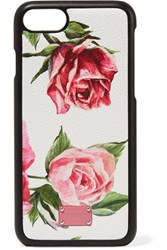 Dolce And Gabbana Floral Print Textured Leather Iphone 7 8 Case Pink