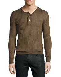 Tom Ford Lightweight Cashmere Silk Ribbed Henley Rust Brown