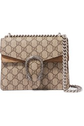 Gucci Dionysus Mini Printed Coated Canvas And Suede Shoulder Bag Brown