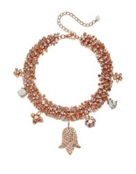 Badgley Mischka 6 7Mm White Pearl And Crystal Charm Necklace Rose Gold
