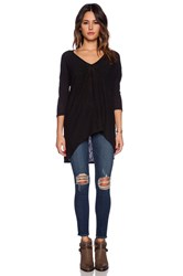 Bobi Cotton Slub Dolman 3 4 Sleeve Tunic Black