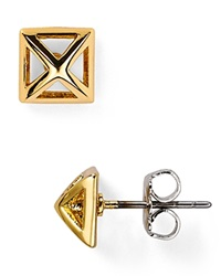 Rebecca Minkoff Pyramid Cut Out Stud Earrings Gold