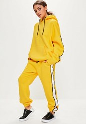 Missguided Yellow Oversized White Binding Tracksuit Joggers