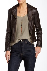 Doma Zipper Detail Genuine Leather Motorcycle Jacket Brown