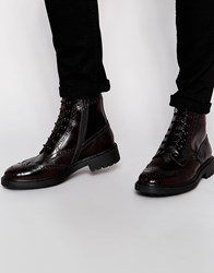 Asos Brogue Boots In Burgundy Leather With Cleated Sole