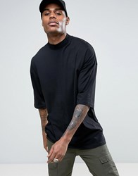 Asos Oversized T Shirt With Half Sleeves And Turtle Neck In Black Black