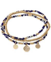 Kenneth Cole New York Two Tone Blue Faceted Bead Stretch Bracelet Set
