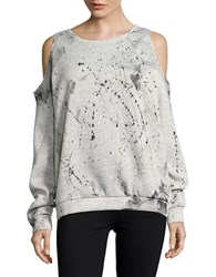 Necessary Objects Cold Shoulder Paint Splatter Sweatshirt Light Grey