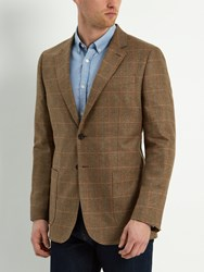 Jaeger Silk Check Classic Fit Blazer Brown