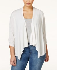 Ny Collection Plus Size Lace Back Draped Cardigan Ivory