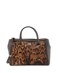 Class Roberto Cavalli Constance Fur Trim Leather Satchel Bag Taupe Brown
