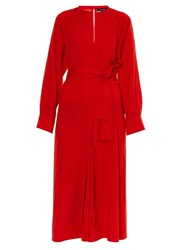 Isabel Marant Long Sleeved Silk Blend Dress Red