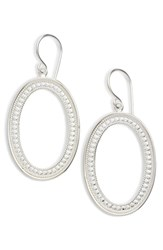 Anna Beck Large Open Oval Drop Earrings Silver
