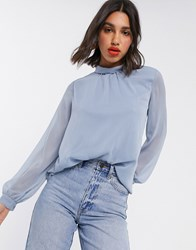 Vila Sheer Blouse With High Neck In Blue