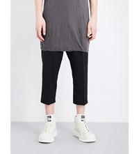 Rick Owens Mid Rise Cropped Cotton Trousers Black