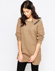 Brave Soul Chunky Knit Jumper With Buckle Detail Tan