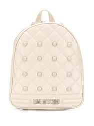 Love Moschino Logo Plaque Backpack Neutrals