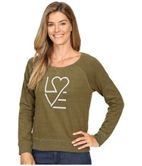 Life Is Good Love Heart Marled Terry Crew Woodland Green Women's Long Sleeve Pullover