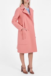 Rochas Multi Pocket Felt Coat Pink