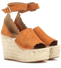 Chloe Lauren Wedge Espadrilles Brown