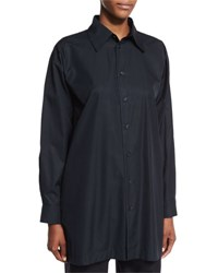 Eskandar Long Sleeve A Line Poplin Blouse Black