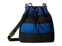 Boutique Moschino Mesh Bucket Bag Blue Black Bags