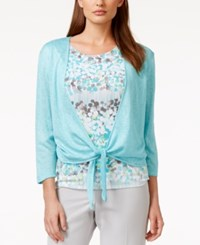 Alfred Dunner Printed Layered Cardigan Top