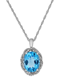 Macy's Blue Topaz Love Knot Pendant Necklace In Sterling Silver 2 7 8 Ct. T.W.