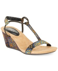 Styleandco. Style Co Mulan Wedge Sandals Created For Macy's Women's Shoes Blue Orange Floral