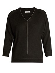 Brunello Cucinelli Cashmere Blend Sweater Charcoal