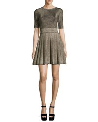 A.L.C. Susana Pleated Metallic Fit And Flare Dress Gold