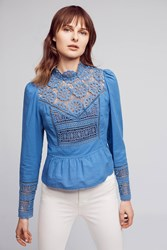 Anthropologie Victorian Lace Blouse Blue
