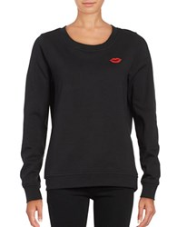 Vero Moda Long Sleeve Crewneck Patch Accented Sweatshirt Black
