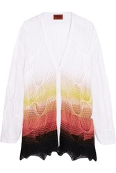 Missoni Layered Crochet Knit Cotton Blend Cardigan White