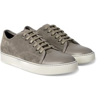 Lanvin Cap Toe Suede And Leather Sneakers