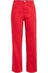 Maje Woman Pamier Cropped High Rise Wide Leg Jeans Red