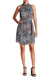 Daniel Rainn Mock Neck Sleeveless Dress Blue