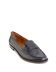 Lauren Ralph Lauren Barrett Tailored Patent Leather Penny Loafers Navy Blue